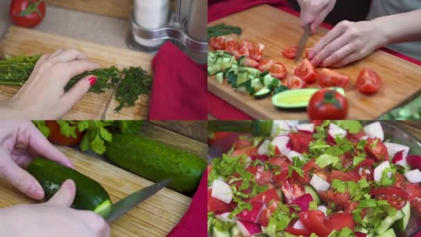 Collage close up time lapse the process of preparing healthy salad of fresh vegetables tomatoes, cucumbers, radishes and greens, slicing green tomatoes, cucumbers, salad dressing with olive oil