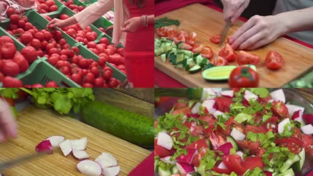 Collage close-up time lapse the process of preparing a healthy salad of fresh vegetables tomatoes, cucumbers, radishes and greens, vegetable selection, slicing green tomatoes radishes, salad dressing
