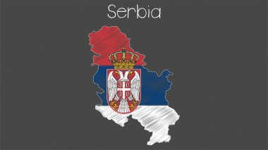 Serbia map-flag illustration. Flag of Serbia in map shape on chalkboard.