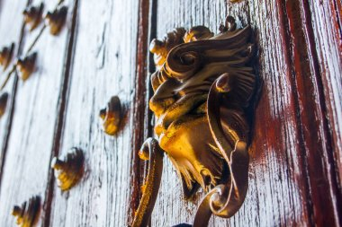 Wooden decoration on the door of a church