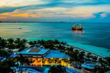Sunset over Caribbean resort