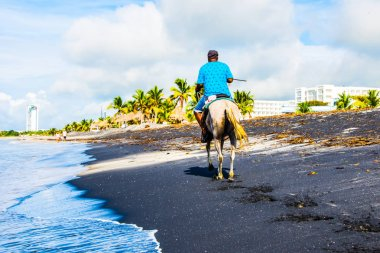 A lonely rider on a white horse slowly moving along a Panama bea