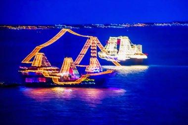 Pirate Show ships are cruising along Caribbean shore