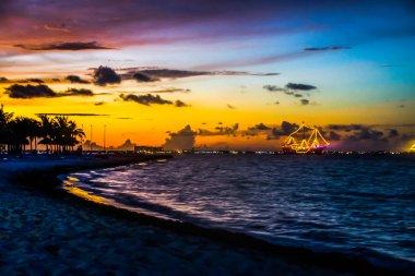 Sunset over Caribbean shore