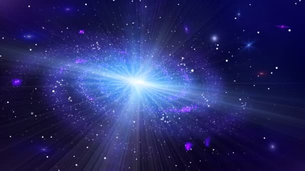 Cosmic Background. Deep Space Galaxy Slowly Turns Around The Axis.