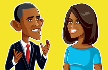 NY, USA, January 24, Barack and Michelle Obama Vector Caricature