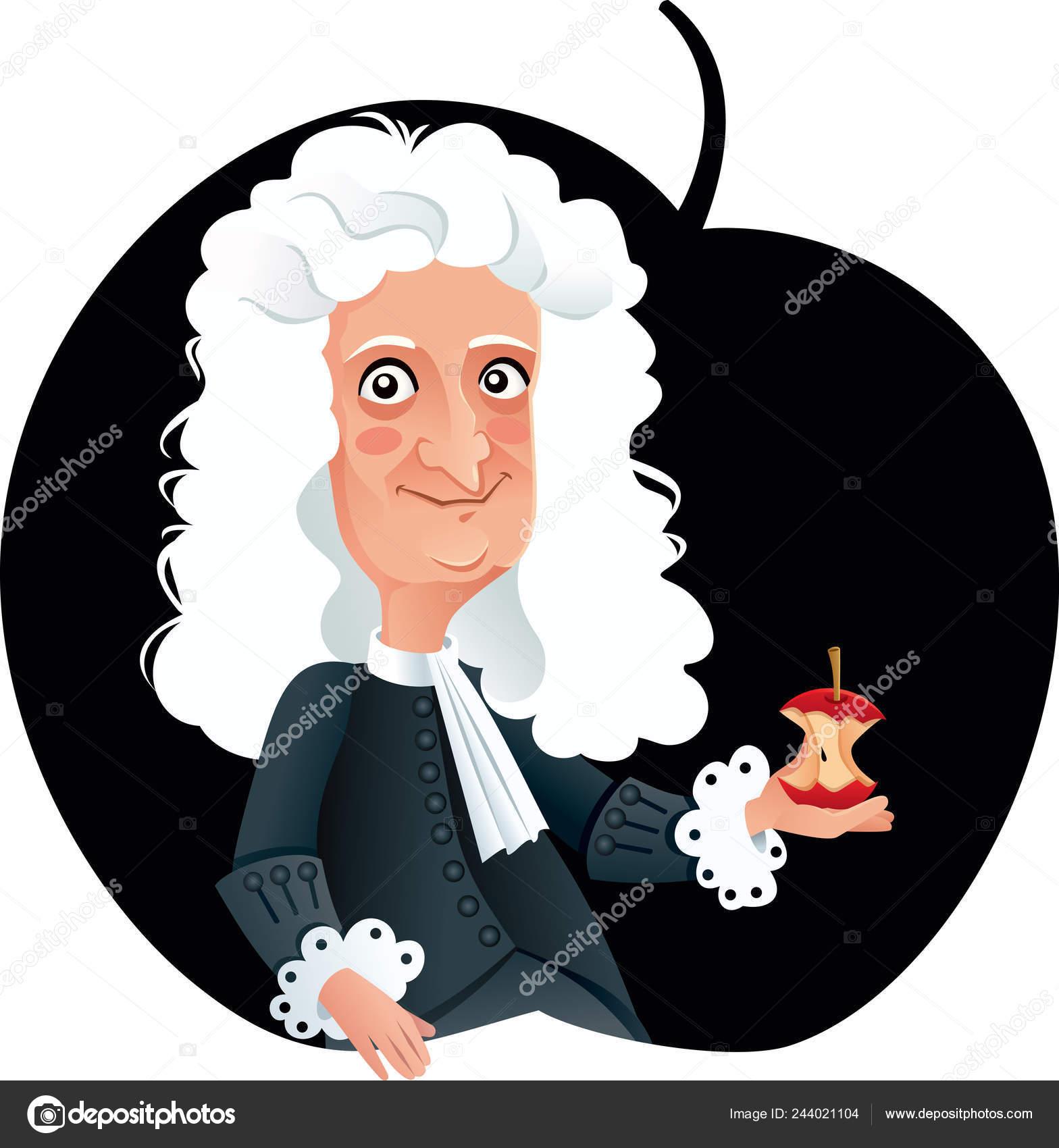 Caricatura Vector Isaac Newton Archivo Imágenes Vectoriales