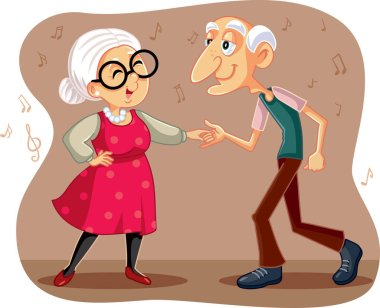 Funny  Elderly Couple Dancing Vector Cartoon
