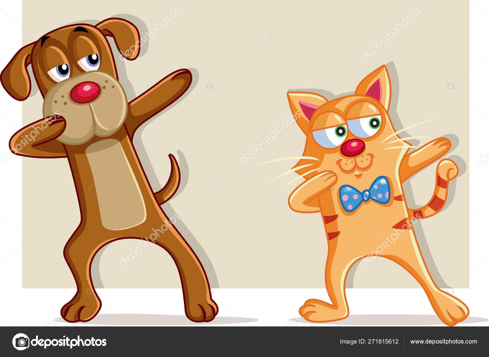 Funny Cat Dog Dabbing Cartoon Vector Stock Vector C Nicoletaionescu 271815612