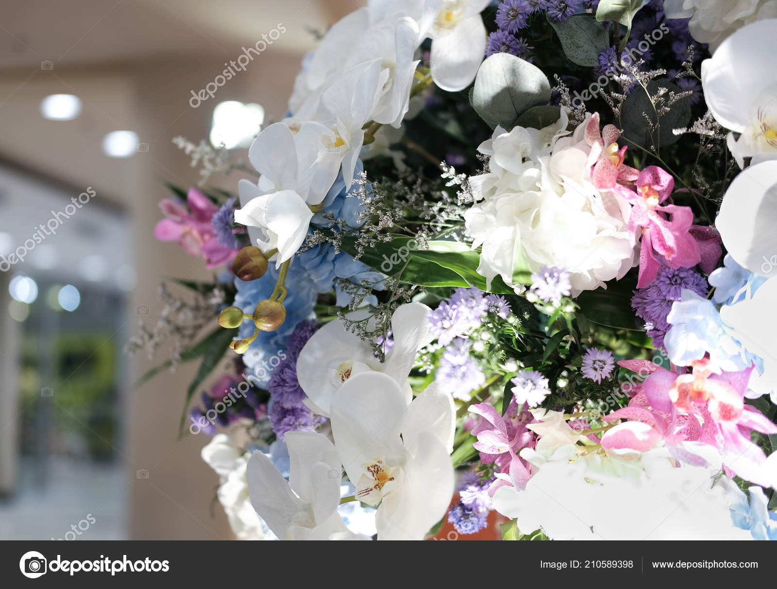 Artificial White Orchid Flower Bouquet Decorating — Stock Photo ...