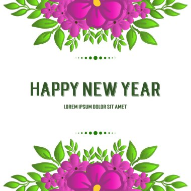Happy new year, with green leaves frame and purple wreath. Vector