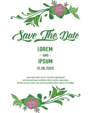 Template of greeting card save the date, with artwork of green leaves frame and pink rose flower. Vector