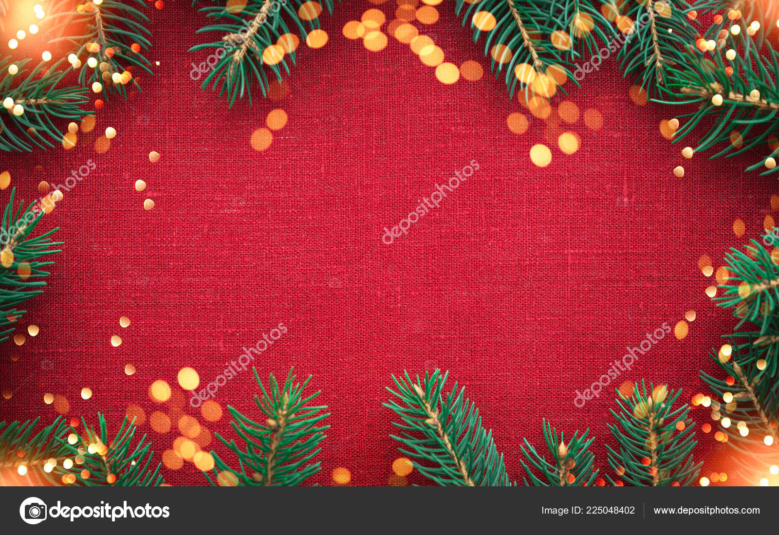 Christmas Frame Christmas Tree Ornaments Red Canvas Background