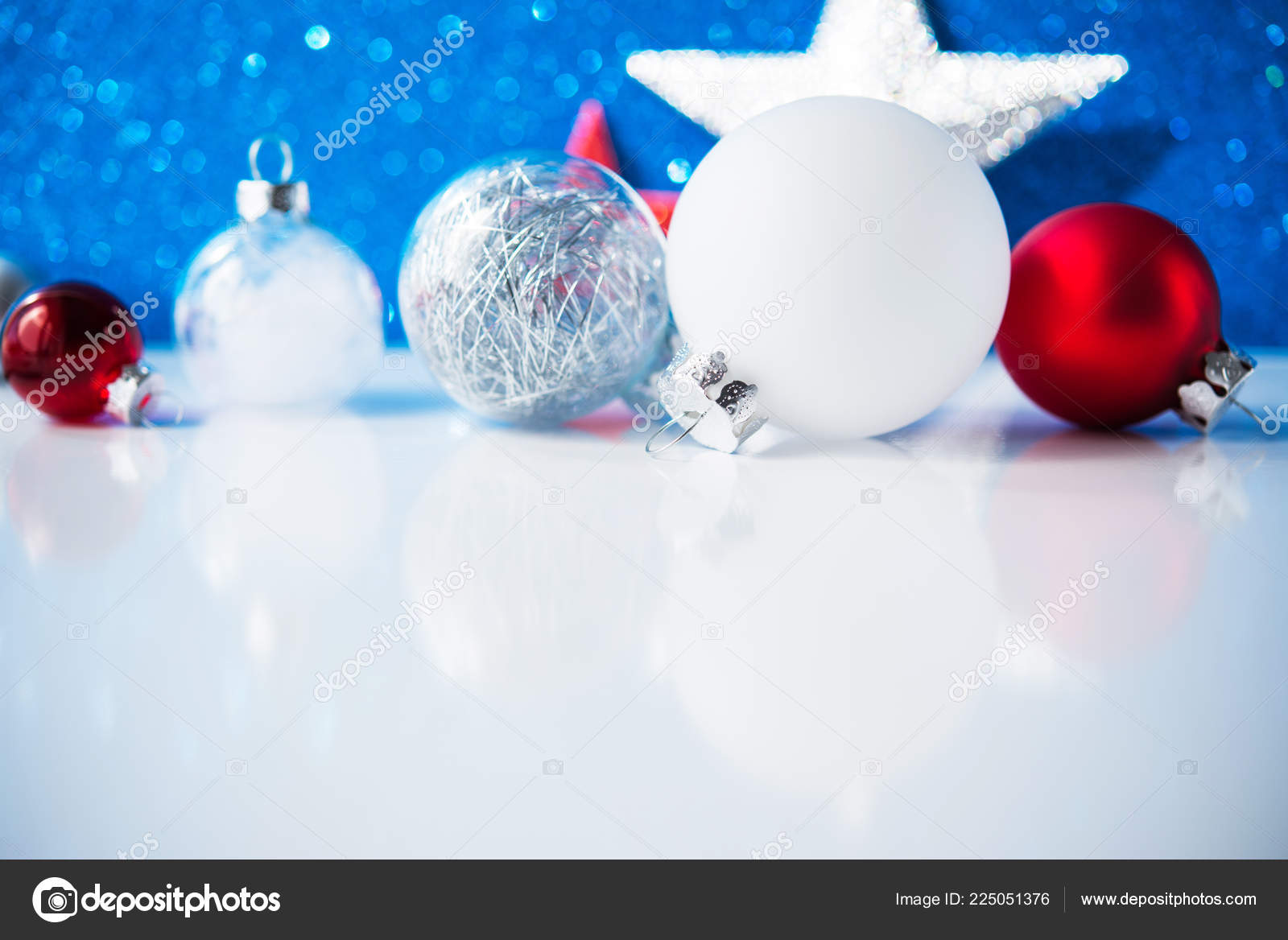 White Red Silver Christmas Decorations Blue Background — Stock Photo
