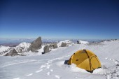 Scenic view of camping on snowy Aconcagua