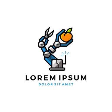 fruit picker robot logo vector icon illustration download