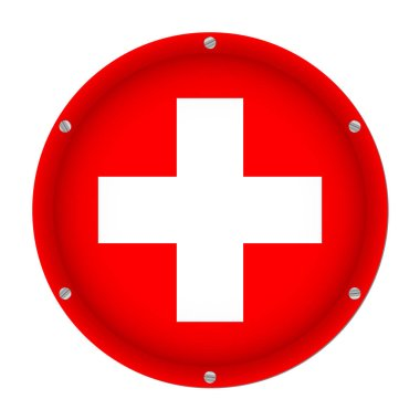 round metallic flag of Switzerland with six screws in front of a white background