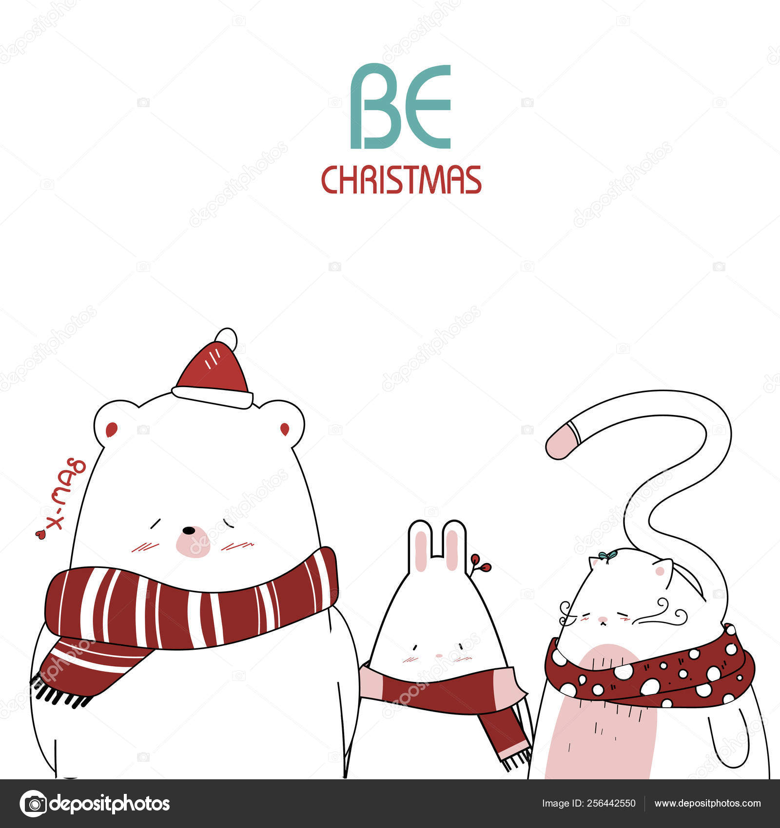 Christmas Day Drawing Images.Draw Cute Animal For Christmas Day Stock Vector