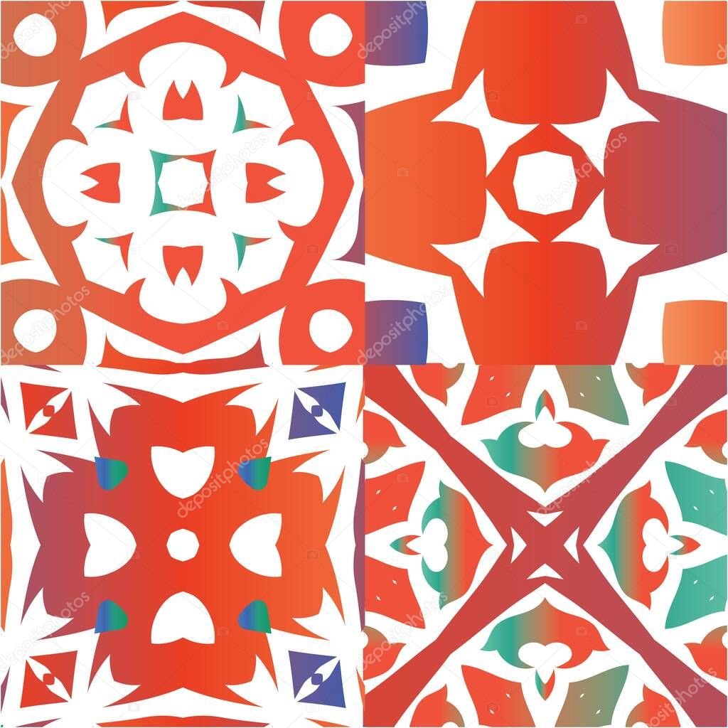 Ethnic Ceramic Tiles In Mexican Talavera Kitchen Design Set Of Vector Seamless Patterns Red Vintage Ornaments For Surface Texture Towels Pillows Wallpaper Print Web Background Premium Vector In Adobe Illustrator Ai