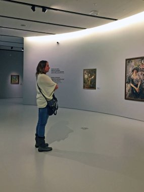 Modern interior of the Museum of Russian impressionism in Moscow Russia