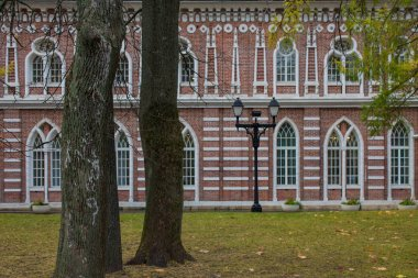 Moscow / Russia-October, 20,2019: brick pink Palace in Tsaritsyno Park on autumn day