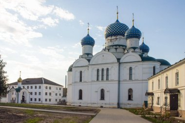 White-stone Epiphany monastery in Uglich Russia on a clear summer day and space for copying.