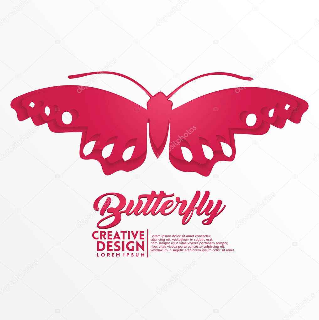 Butterfly Geometric paper craft style.
