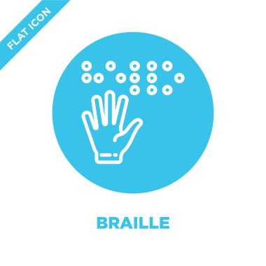 braille icon vector from accessibility collection. Thin line braille outline icon vector  illustration. Linear symbol for use on web and mobile apps, logo, print media.