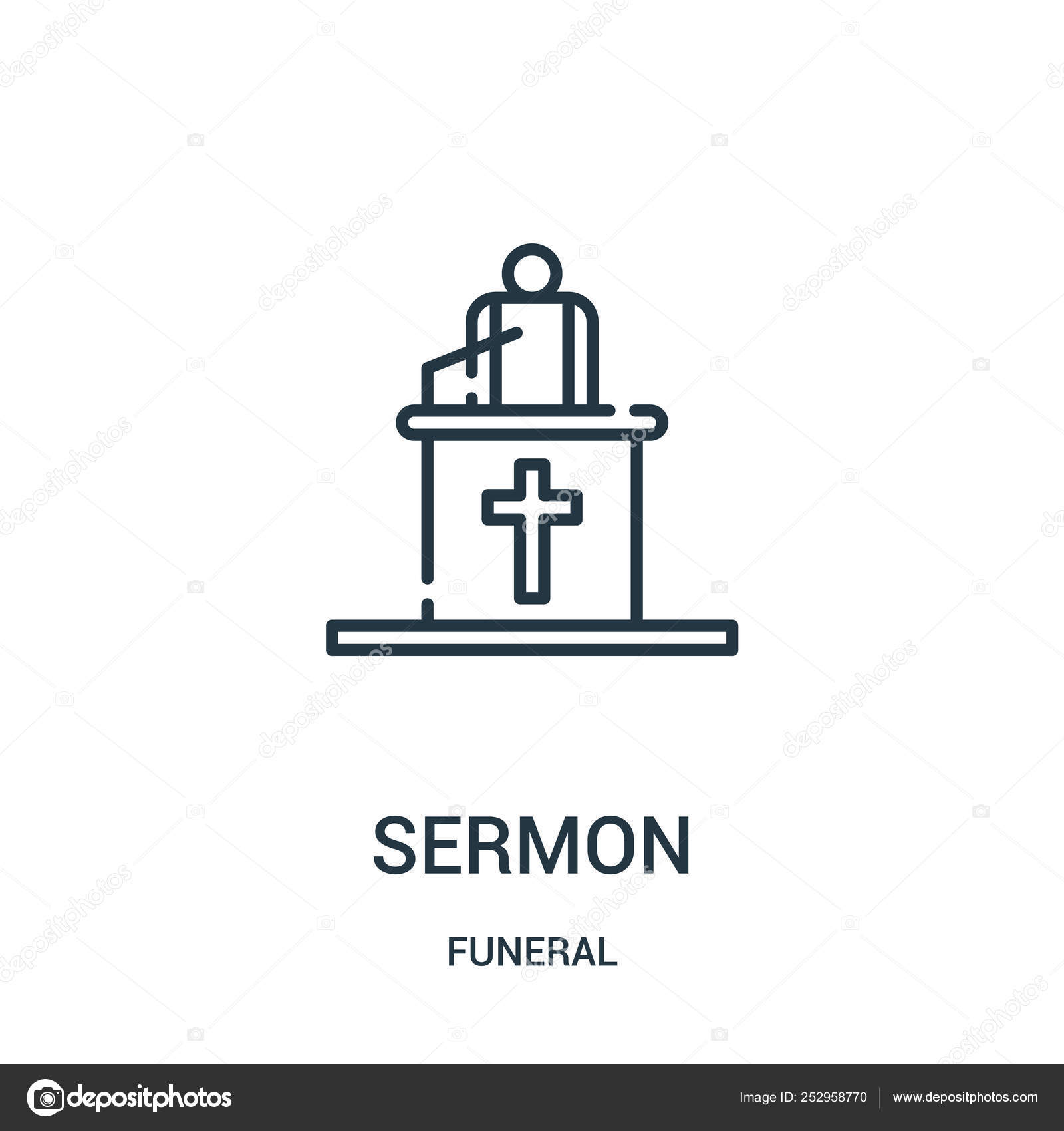 Sermon icon vector from funeral collection  Thin line sermon