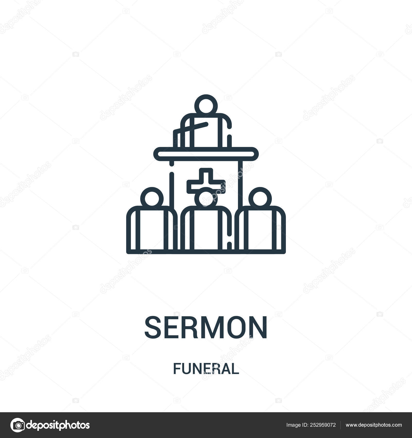 Sermon icon vector from funeral collection  Thin line sermon outline