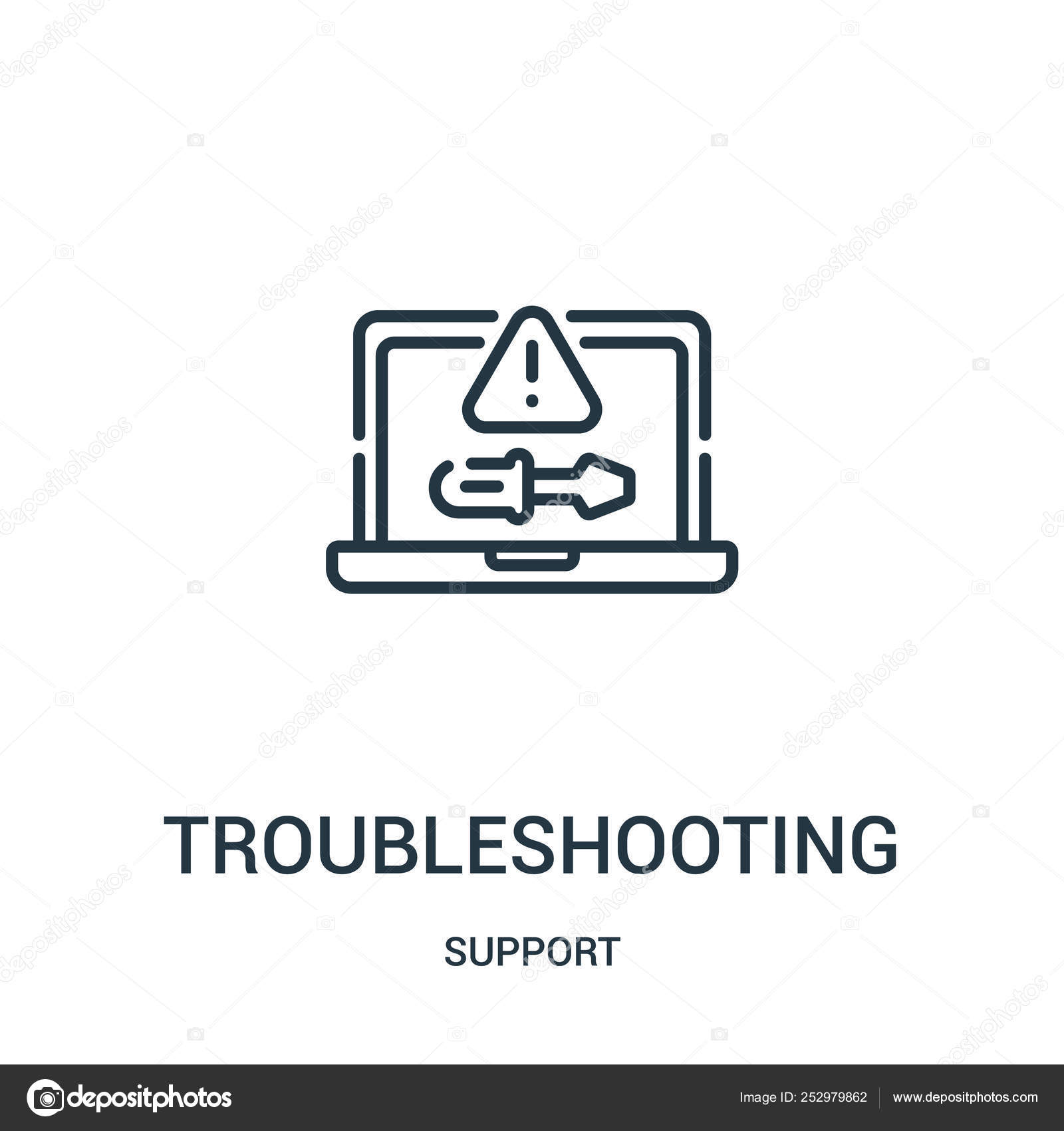 Troubleshooting Icon Vector From Support Collection. Thin