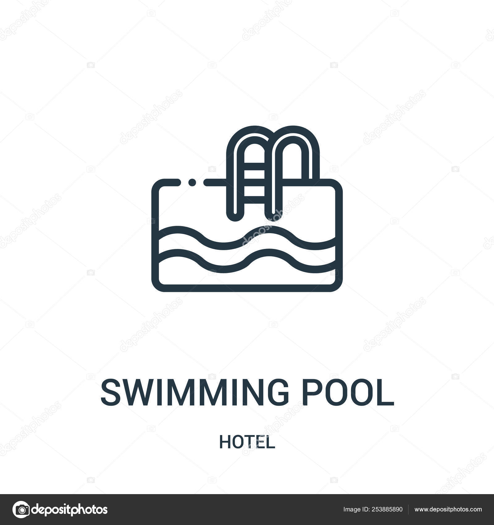 Swimming pool icon vector from hotel collection. Thin line ...