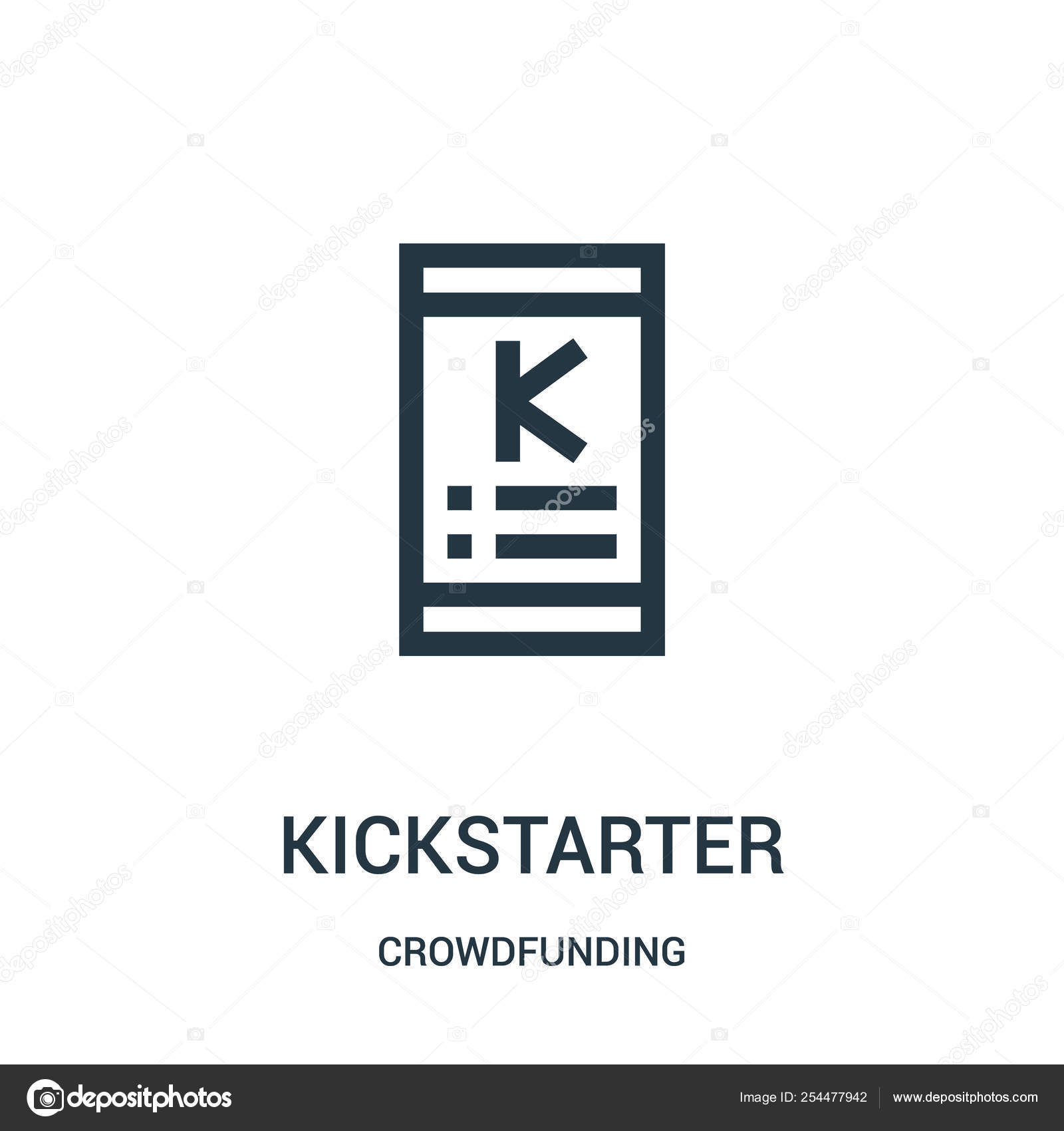 Kickstarter icon vector from crowdfunding collection  Thin