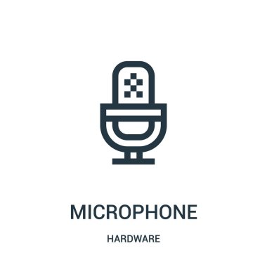 microphone icon vector from hardware collection. Thin line microphone outline icon vector illustration.