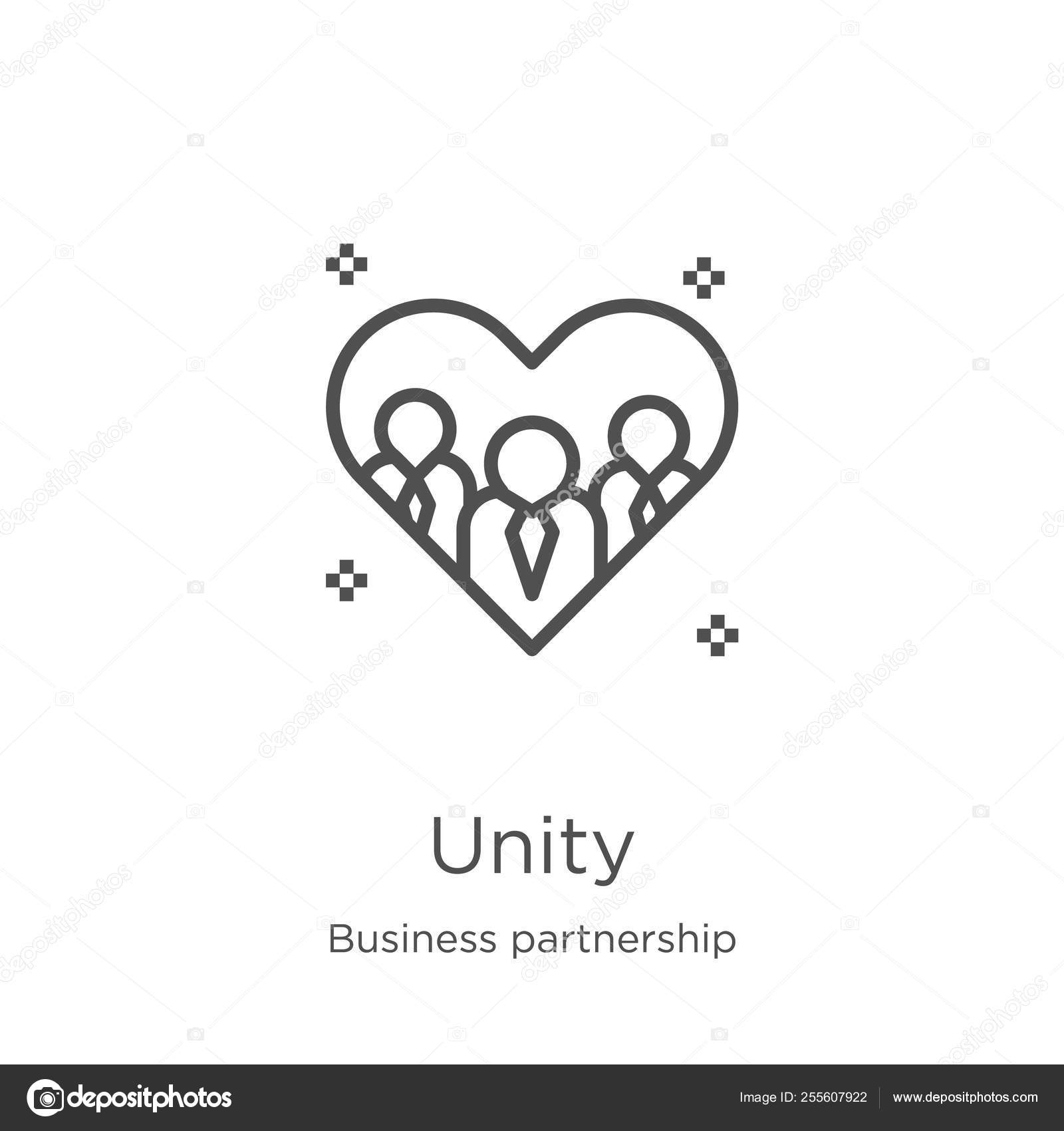 Unity icon vector from business partnership collection  Thin line