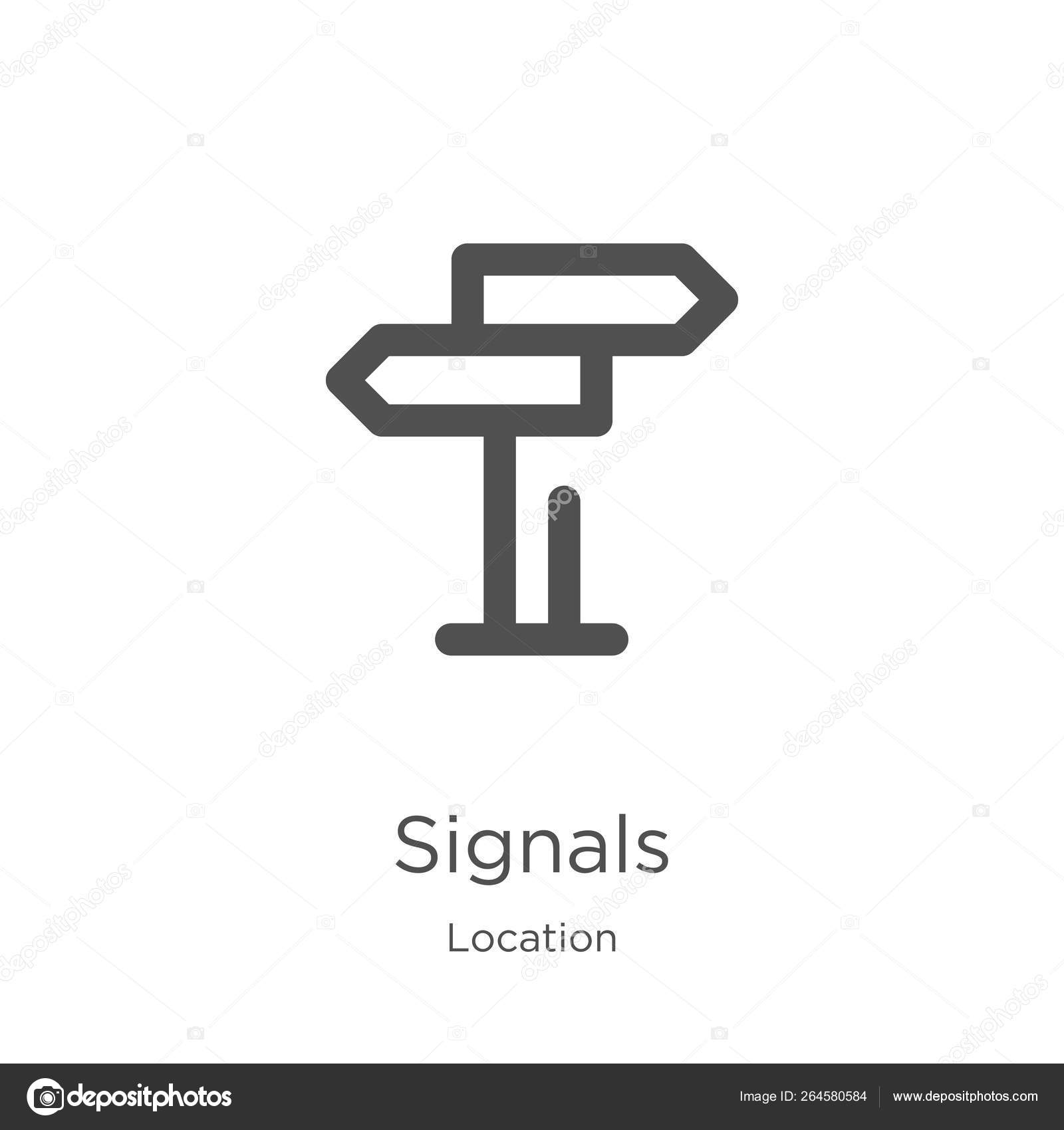 signals icon vector from location collection  Thin line