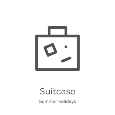 suitcase icon vector from summer holidays collection. Thin line suitcase outline icon vector illustration. Outline, thin line suitcase icon for website design and mobile, app development.