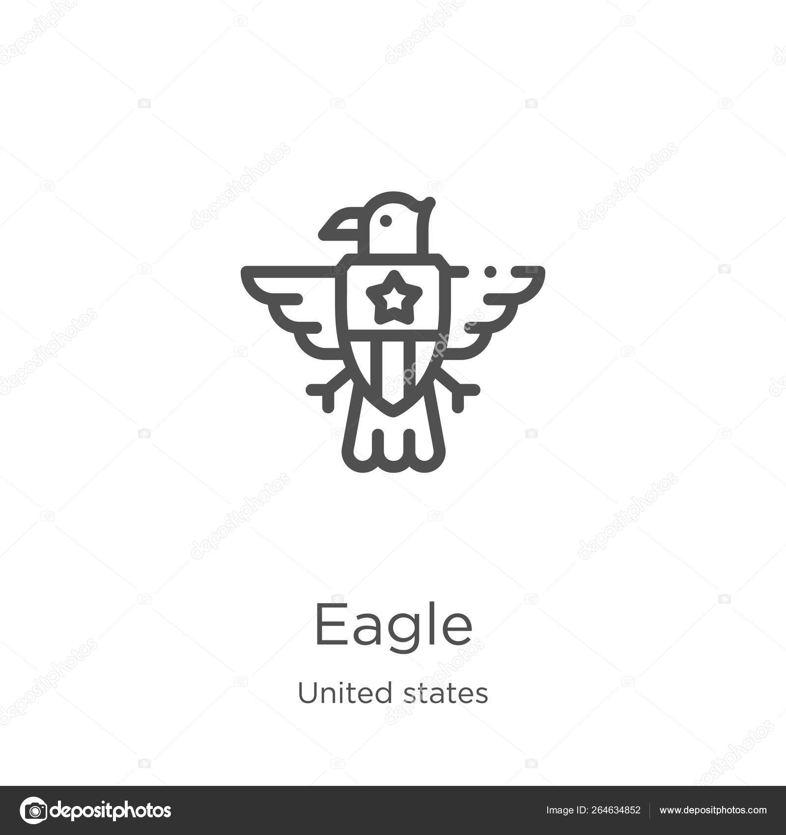 Eagle icon vector from united states collection  Thin line