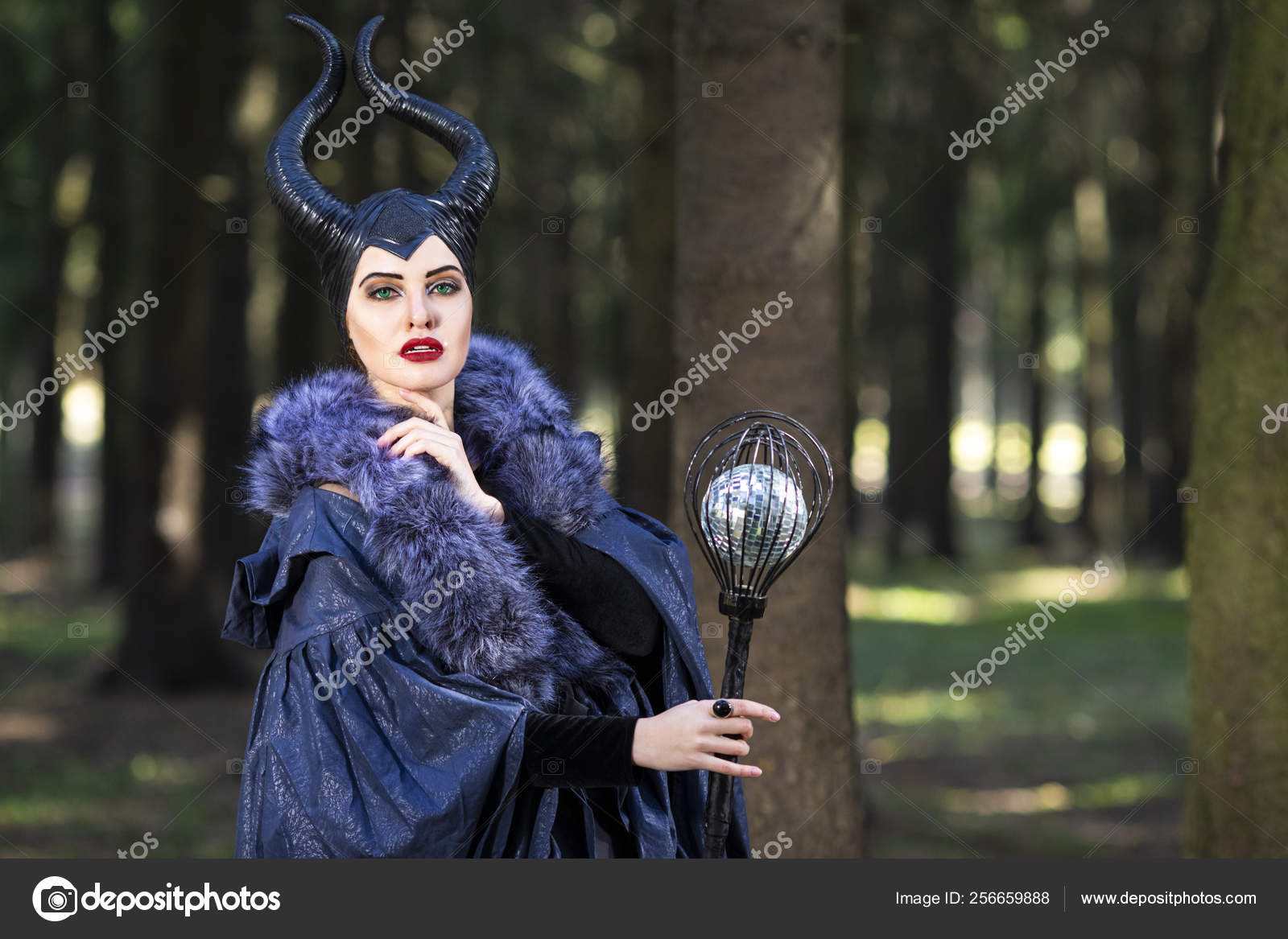 Costume Drama Young Caucasian Female Poses In Maleficent