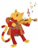 vector illustration of a cat playing violin