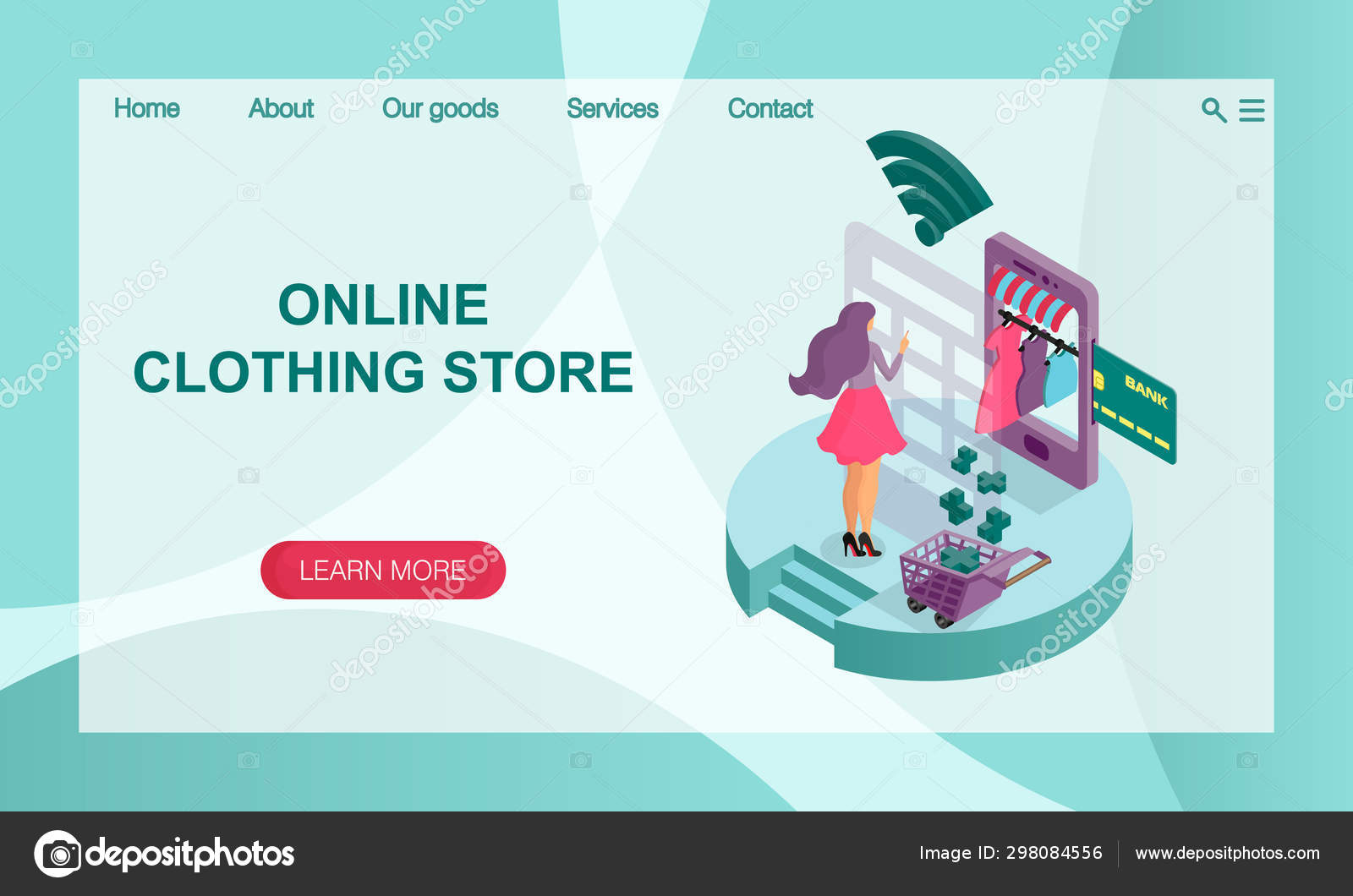 The concept of online online store of women\'s clothing. 3D isometric illustration. Vector website landing page design template