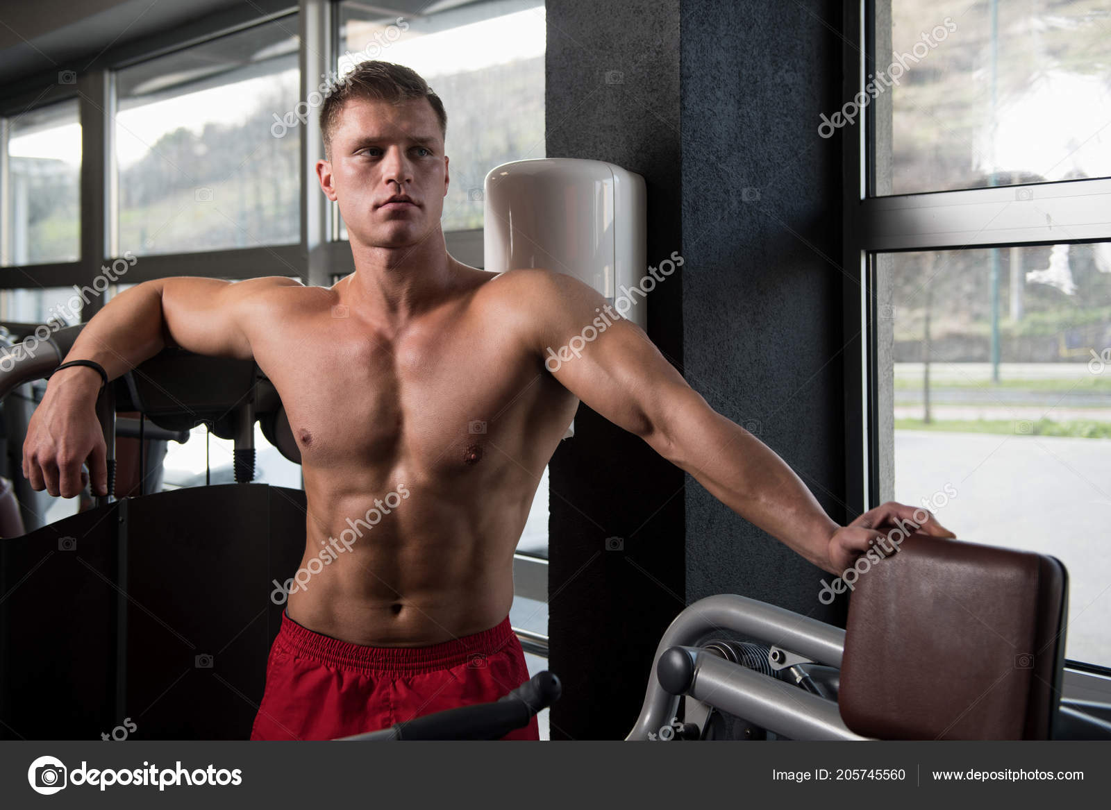 Good looking muscle gym