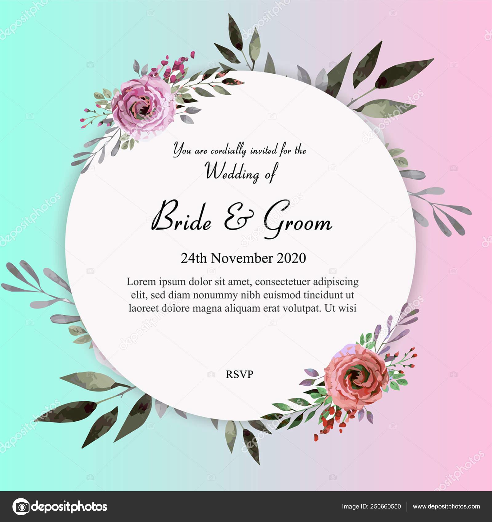 Watercolour Floral Wedding Invitation Template — Stock Vector ...