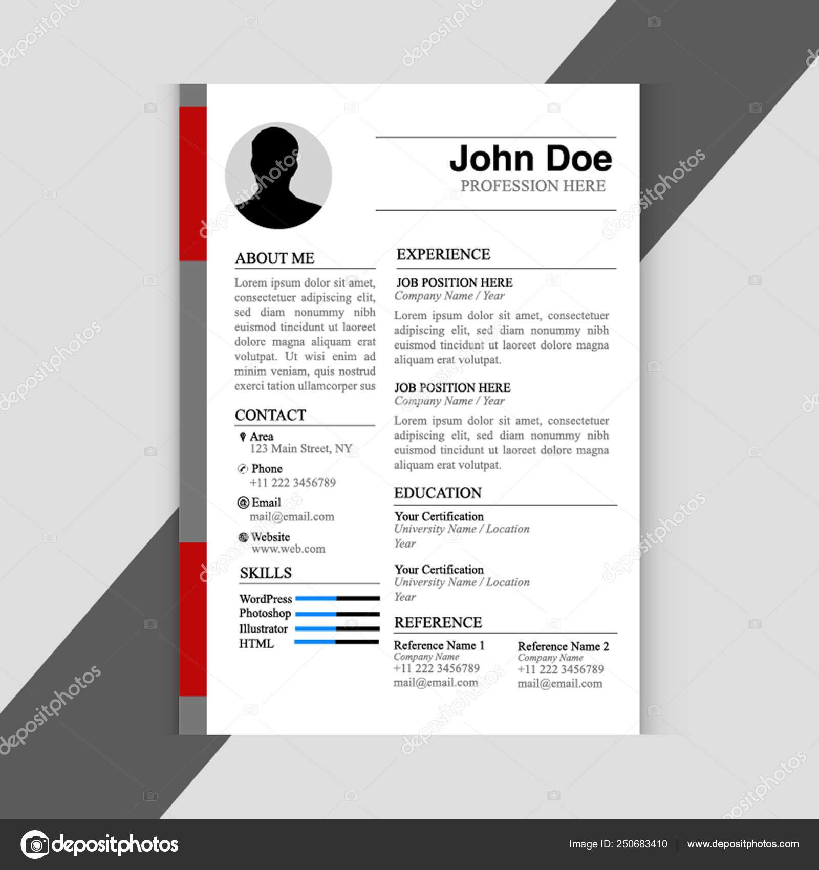 Print Simple Resume Format Design Stock Vector C Rithdeb2019 250683410