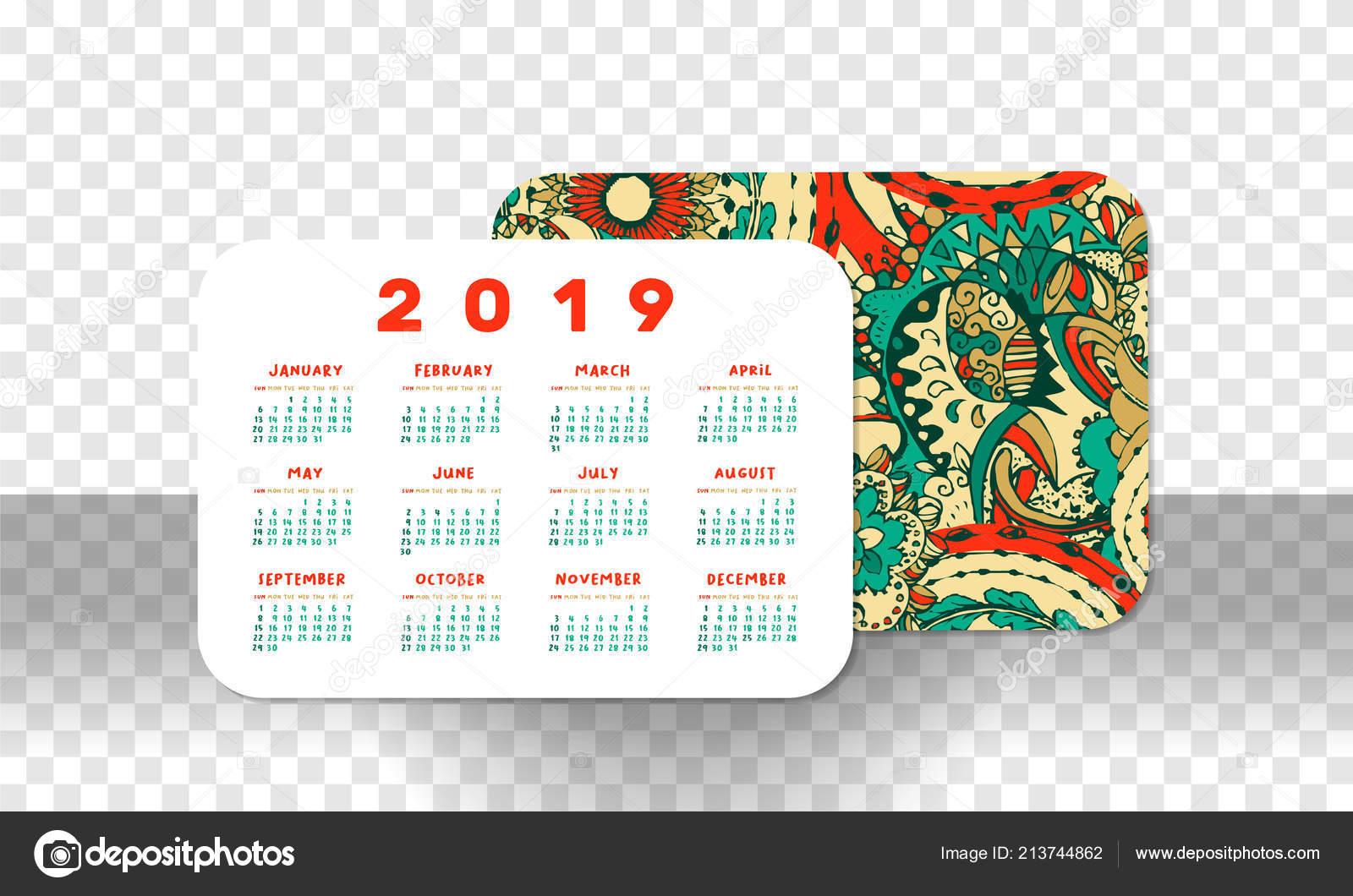 Calendrier De Poche 2019.Grille Base Calendrier Poche 2019 Orientation Horizontale