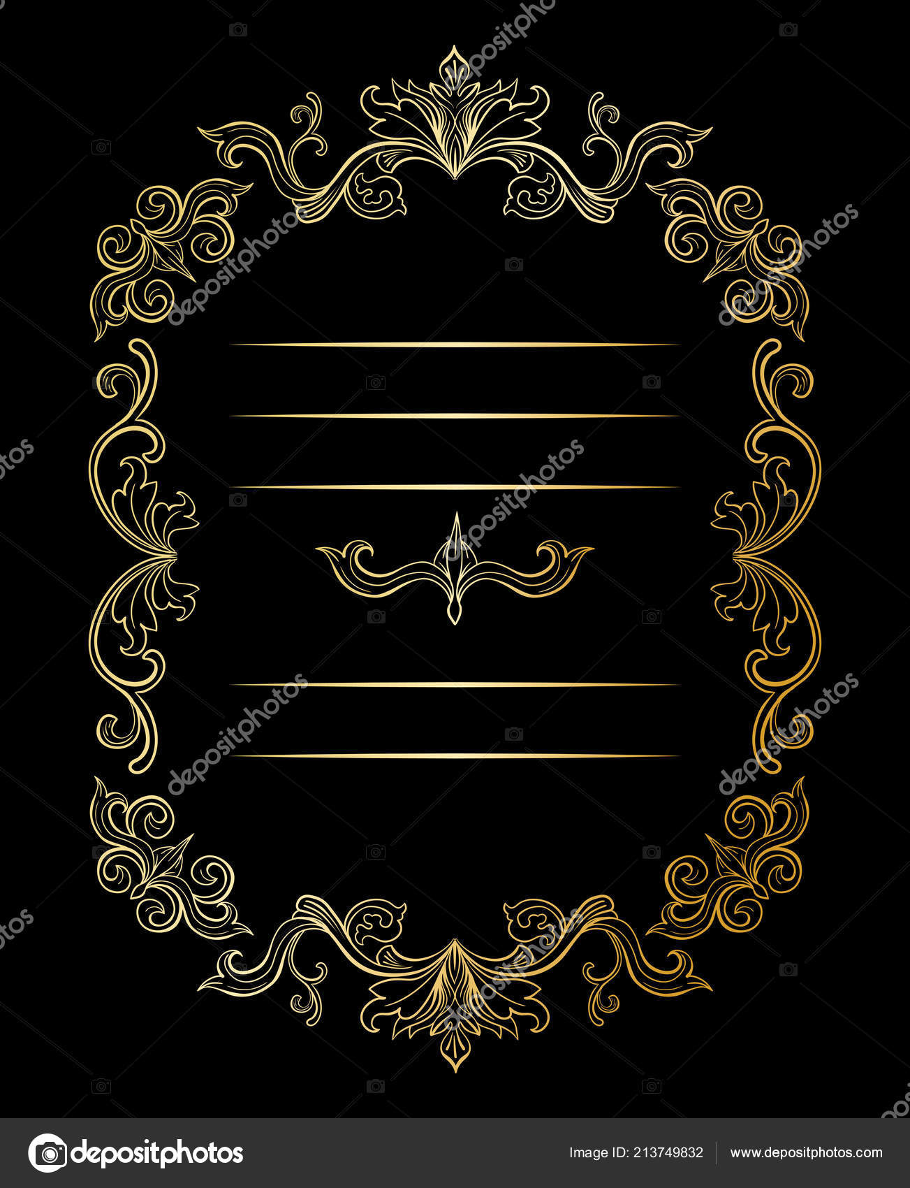 Golden Floral Border Frame Place Text Copy Space Dividers Flourishes
