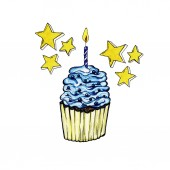 Fotografie Cupcake with Blue Cream, Cake with One Candle, Pastry with Icing and Yellow Stars. Bakery isolated design. Happy Birthday Party Celebration, Gifts and Anniversary. Wedding Food