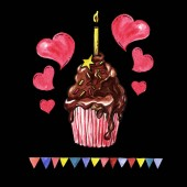 Red Cupcake with cream. Chocolate cake with candle, pastry with icing and hearts or bakery design with flags. Banner for happy birthday celebration and anniversary, party and wedding. Black Background