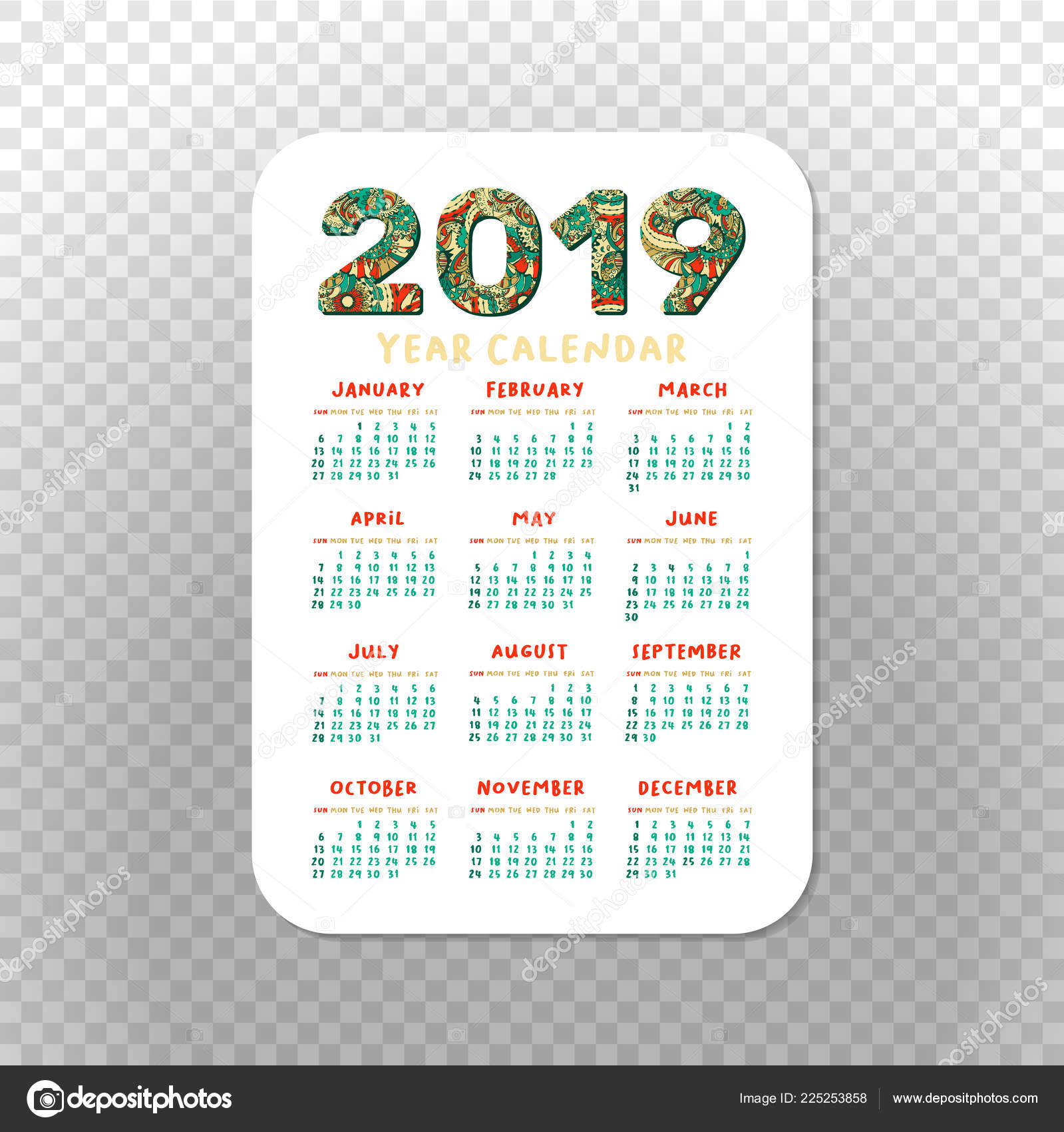 photograph relating to Printable Pocket Calendars identified as 2019 Pocket Calendar Easy Grid Vector Vertical Orientation