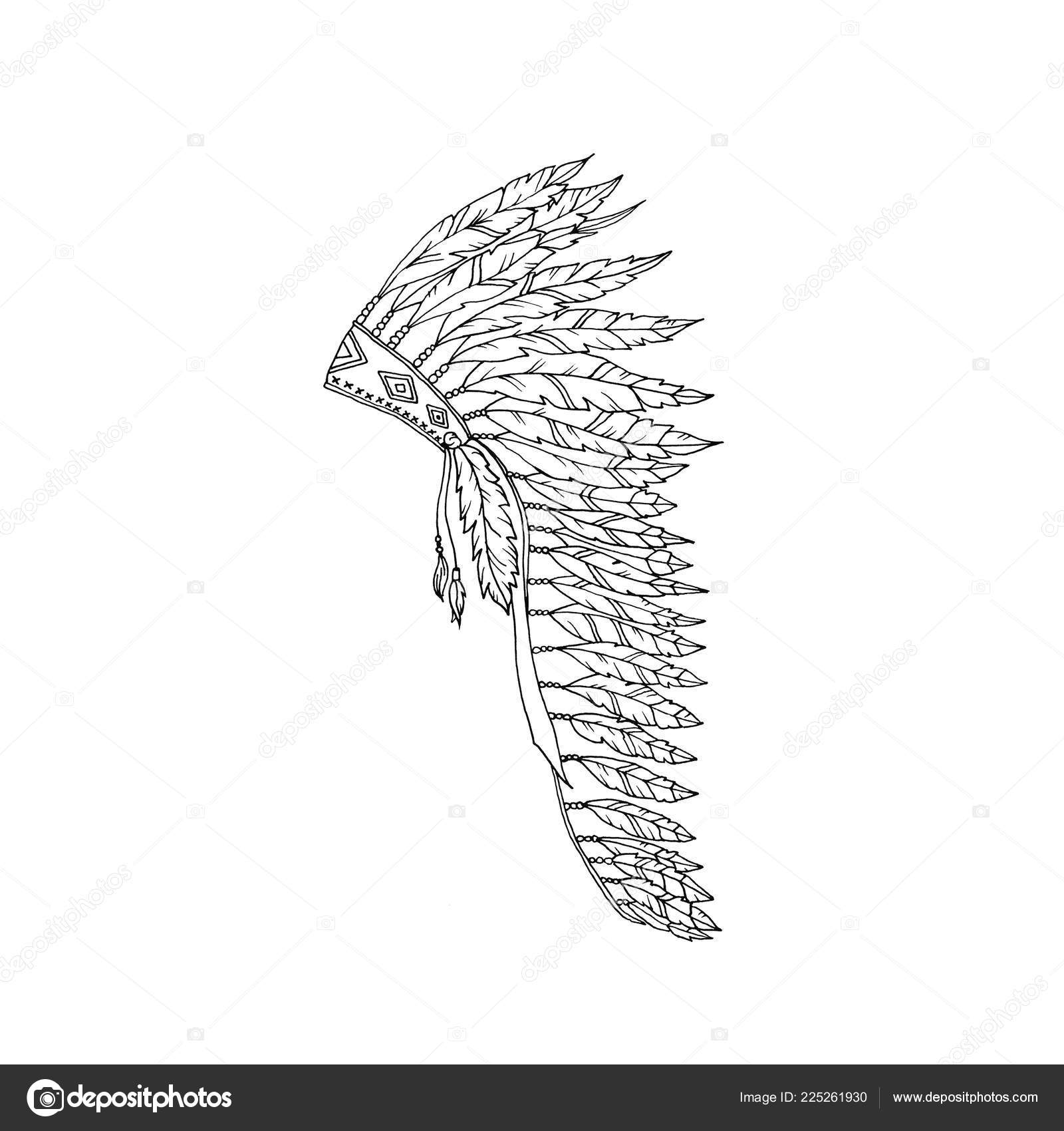 Dibujo Esquema Warbonnet Americano Sombrero Pluma águila Para